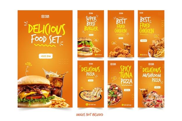 Szablon historii delicious pizza and burger instagram