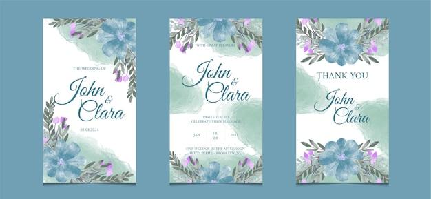 Szablon historii instagram na zaproszenie na ślub z akwarelą w tle kwiatów