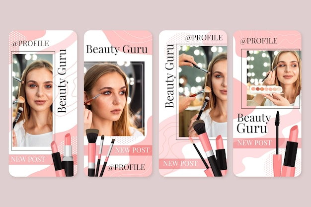 Szablon historii kosmetycznych na instagramie