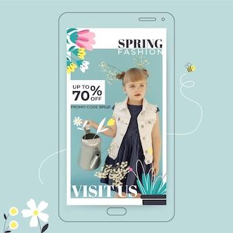 Szablon historii kreatywnych kwiatowy wiosna instagram