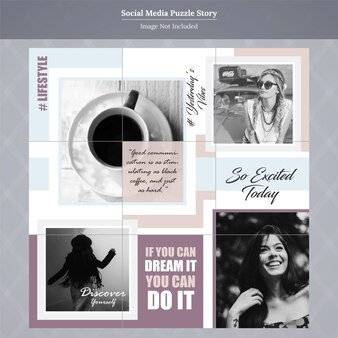 Szablon historii mediów społecznych puzzle