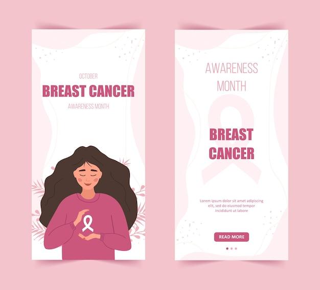 Szablon historii miesiąca świadomości raka piersi. szczęśliwa kobieta z wstążką.