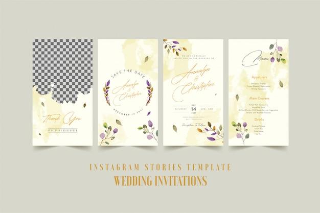 Szablon historii na instagramie dla karty zaproszenia ślubne z akwarela kwiat i liście