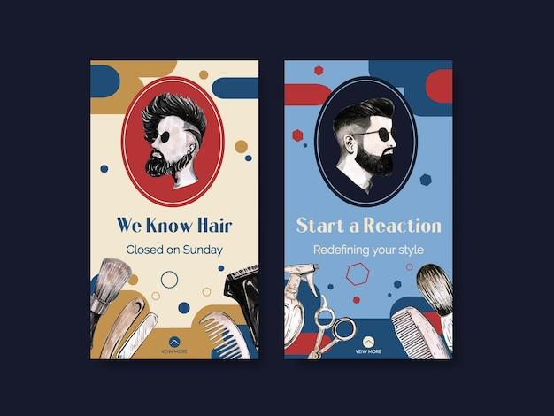 Szablon historii na instagramie z koncepcją fryzjera
