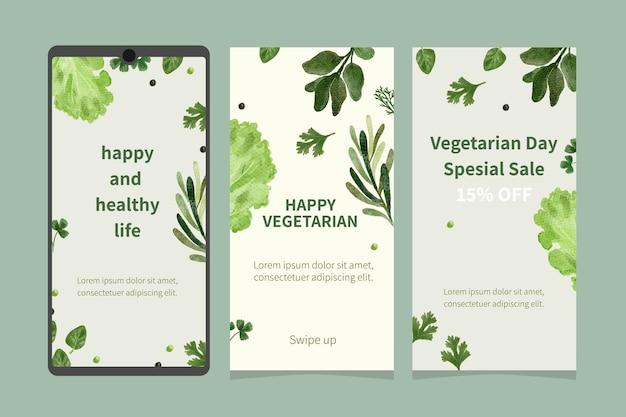 Szablon historii na instagramie z warzywami akwarelowymi
