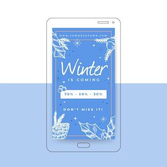 Szablon historii na instagramie zimą
