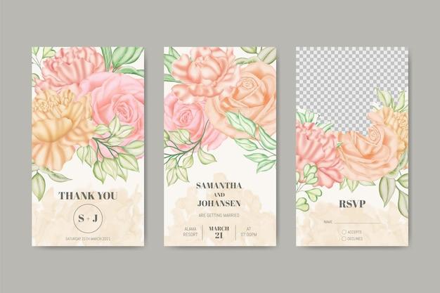 Szablon historii ślubnych na instagramie kwiatowym