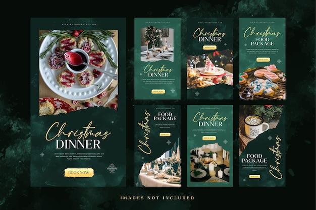 Szablon historii świątecznej kolacji na instagramie do reklamy w mediach społecznościowych