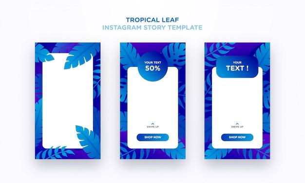 Szablon historii tropical leaf na instagramie