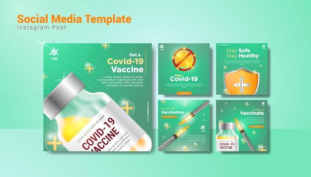 Szablon historii w mediach społecznościowych dotyczących szczepień przeciwko covid-19 ze strzykawką, szczepionką, tarczą i zielonym tłem
