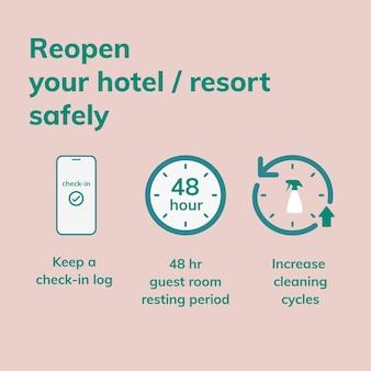 Szablon ig środków bezpieczeństwa covid 19, wektor bezpiecznie ponownie otwórz swój hotel
