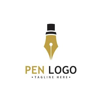 Szablon ikon logo pióra. tożsamość autora firmy