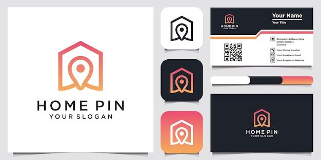 Szablon ikona logo pin domu i projekt wizytówki