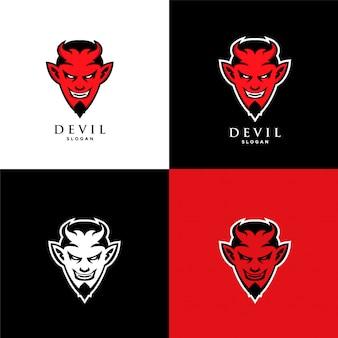 Szablon ikona logo twarz diabła czerwonego