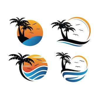 Szablon ikona logo zachód słońca brzegu oceanu