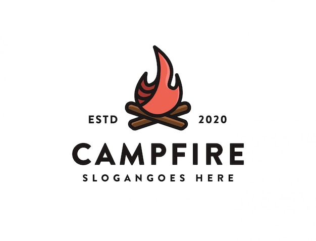 Szablon ikony logo camping przy ognisku