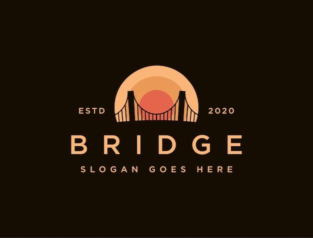 Szablon ikony logo zachód słońca i most