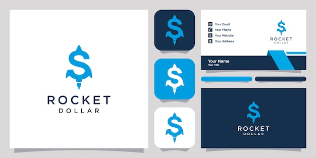 Szablon ikony projektu logo rakietowego dolara