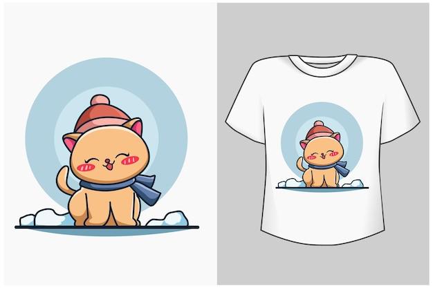 Szablon ilustracja kreskówka ładny kot zimowy