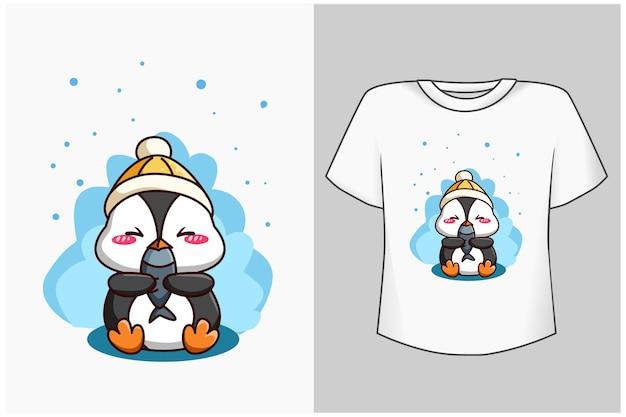 Szablon ilustracja kreskówka ładny pingwina