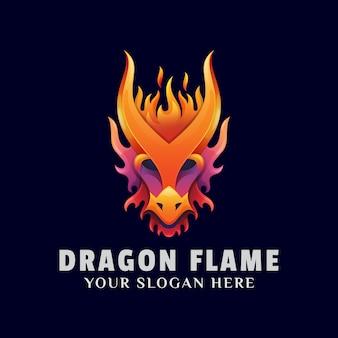 Szablon ilustracja logo kolorowy płomień smoka