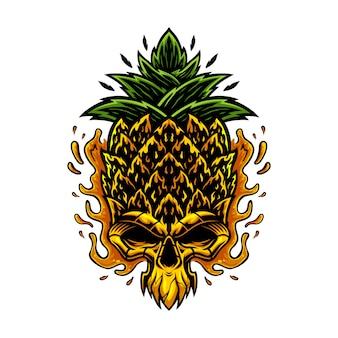 Szablon ilustracji czaszki ananasa