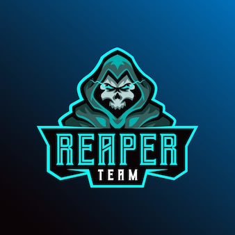 Szablon ilustracji logo reaper mascot esport.