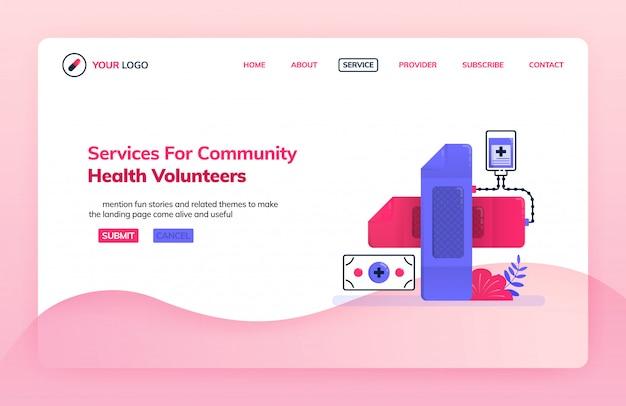 Szablon ilustracji strony docelowej usługi dla wolontariuszy zdrowia społeczności.