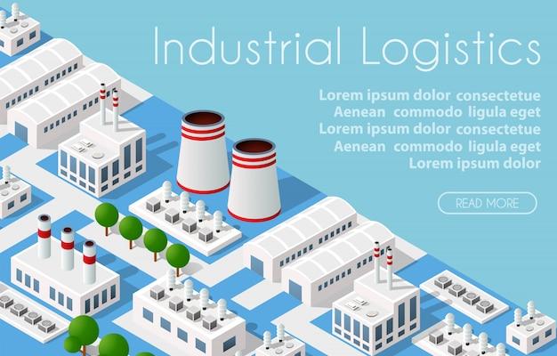 Szablon ilustrujący izometryczne miasto logistyki przemysłowej