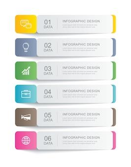 Szablon indeksu cienka linia papieru zakładka infografiki danych. może być używany do układu przepływu pracy, kroków biznesowych, banerów, projektowania stron internetowych.