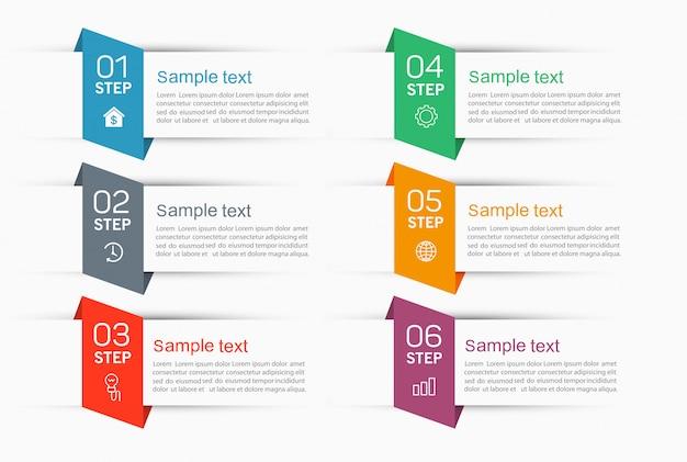 Szablon indeksu papieru z zakładkami infografiki z 6 krokami