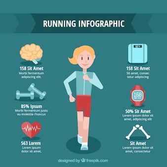 Szablon infograficzny z płaskimi obiektami i kobietą biegnącą