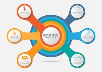 Szablon infografika biznesowych z 6 opcji