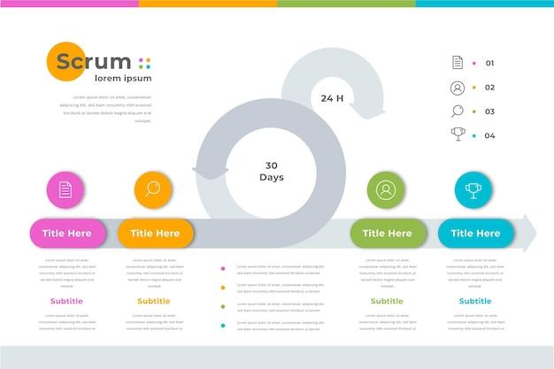 Szablon infografika kolorowy scrum