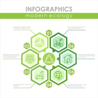 Szablon infografika nowoczesnej ekologii zrównoważona, odnawialna niskoemisja energii słonecznej i wiatrowej