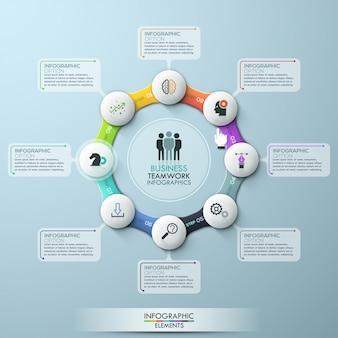Szablon infografika osiem opcji cyklu. wektor zapasów