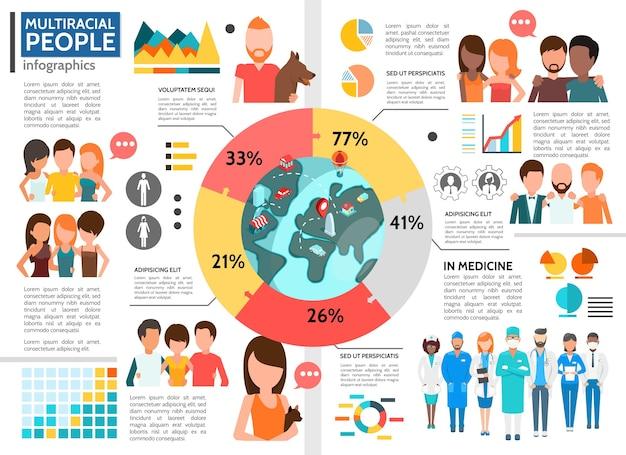 Szablon infografika płaskich wielorasowych ludzi