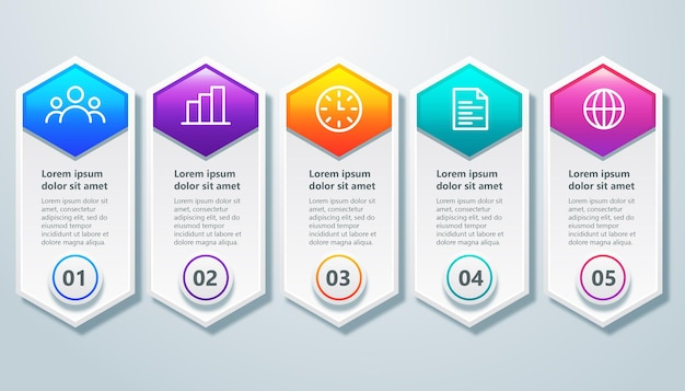 Szablon infografika z 5 krokowym elementem