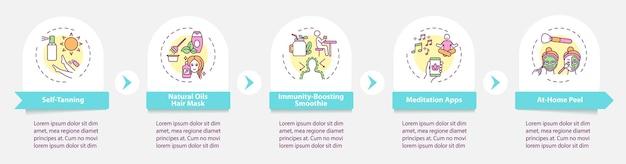 Szablon infografika zabiegów kosmetycznych. samoopalacze, wspierające odporność elementy projektu prezentacji. wizualizacja danych w 5 krokach. wykres osi czasu procesu. układ przepływu pracy z ikonami liniowymi