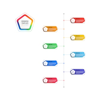 Szablon infografikę osi czasu 8 kroków pionowe z pięciokątami i wielokątne elementy na białym tle.