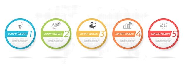 Szablon Infografikę Osi Czasu Firmy 5 Opcji Lub Krok. Premium Wektorów