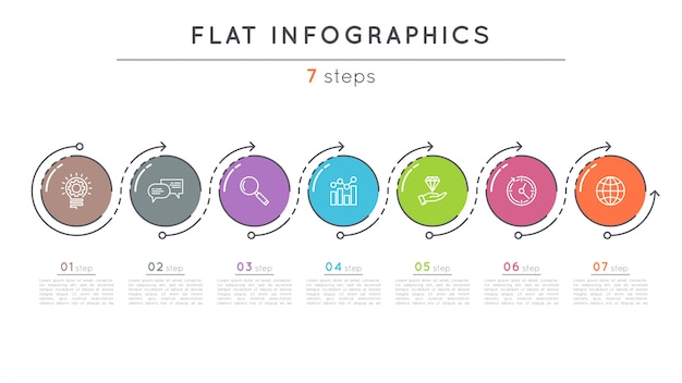 Szablon infografikę osi czasu płaskie kroki.