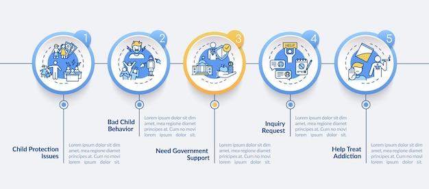 Szablon infografikę wektor usługi ochrony. pomoc przy projektowaniu elementów prezentacji zagadnień społecznych. wizualizacja danych w 5 krokach. wykres osi czasu procesu. układ przepływu pracy z ikonami liniowymi