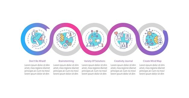 Szablon infografikę wektor wzrostu pracownika. elementy projektu prezentacji strategii rozwoju osobistego. wizualizacja danych w 5 krokach. wykres osi czasu procesu. układ przepływu pracy z ikonami liniowymi