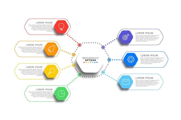 Szablon infografiki 7 kroków z realistycznymi sześciokątnymi elementami na białym tle
