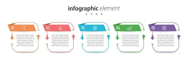 Szablon infografiki biznesowe kroki premium wektorów