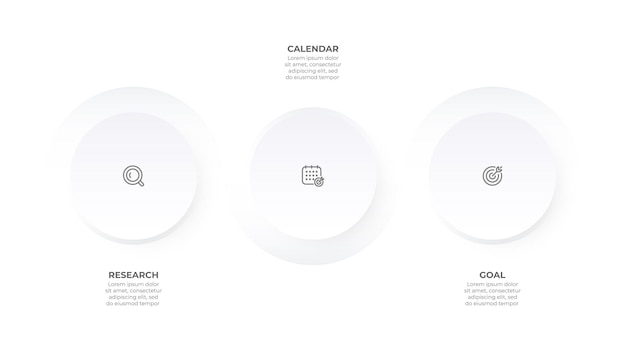 Szablon infografiki biznesowej element okręgu osi czasu z 3 opcjami lub krokami