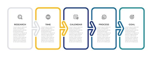 Szablon infografiki biznesowej kreatywny projekt z częściami strzałek proces osi czasu z 5 opcjami