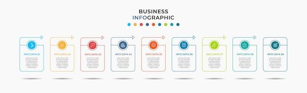 Szablon infografiki biznesowej oś czasu z opcjami 9 kroków i ikonami marketingowymi