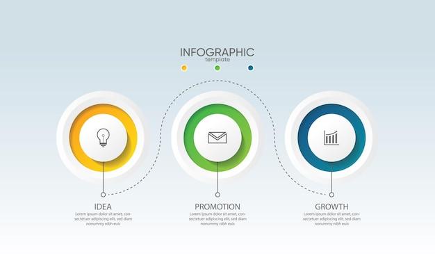 Szablon infografiki biznesowej prezentacji z 3 krokami